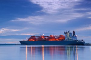 Lng,Tanker,At,The,Gas,Terminal,-,Sunrise,Over,The